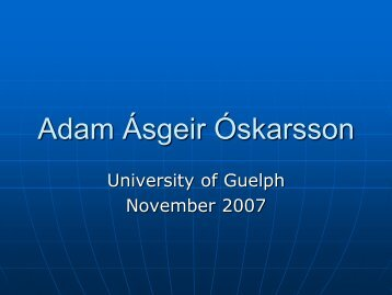 Adam Óskarsson - University of Guelph