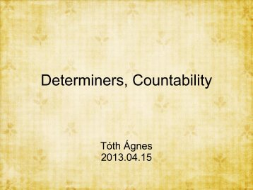 Determiners, Countability