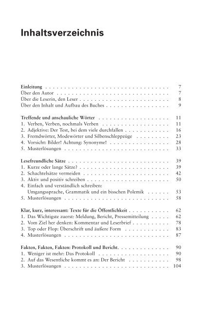 Inhaltsverzeichnis Buch Mehr Direkt