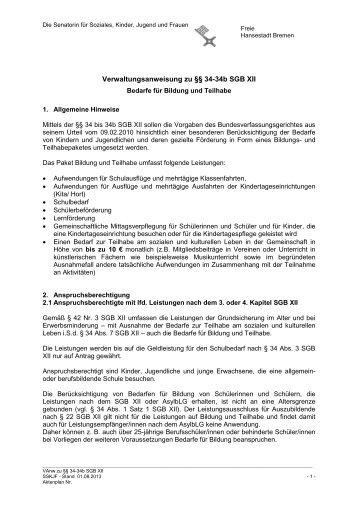 Verwaltungsanweisung zu §§ 34-34b SGB XII - Buergerservice