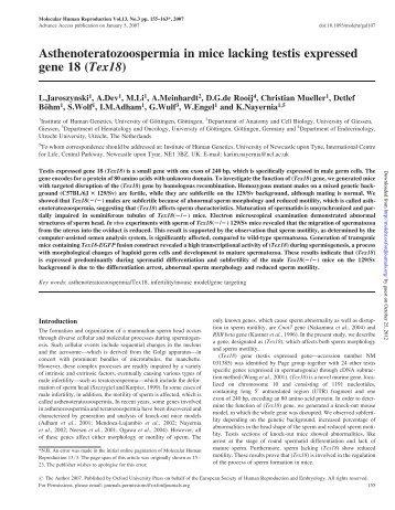 Asthenoteratozoospermia in mice lacking testis expressed gene 18 ...