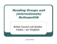 Reading Groups und (internationale) Kulturpolitik - HAW Hamburg