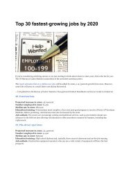 Top 30 fastest-growing jobs by 2020
