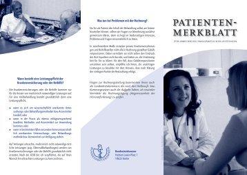Patientenmerkblatt zur Abrechnung privatärztlicher Leistungen