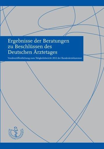 Ergebnisse der Beratungen zu Beschlüssen des Deutschen ...