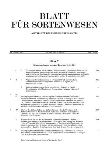 Juli 2011 - Bundessortenamt