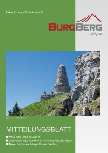 Burgberger Mitteilungsblatt Nr. 16/2013