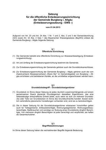 Entwässerungssatzung 2013 Ausfertigung - Burgberg