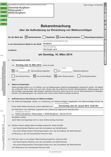 geht es zur Bekanntmachung... - Gemeinde Burgthann