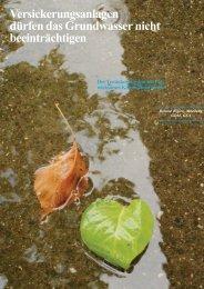 Versickerungsanlagen dürfen das Grundwasser nicht beeinträchtigen