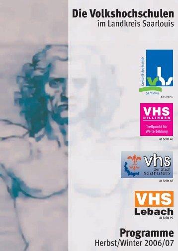 VHS-Programm KVHS 2006-2.indd - Volkshochschule Saarlouis