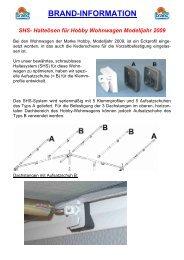 Halteösen für Hobby Wohnwagen Modelljahr 2009 - Brand Zelte