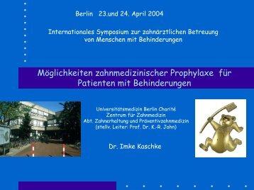 Grundlagen primärer Prävention oraler Krankheiten Das behinderte ...