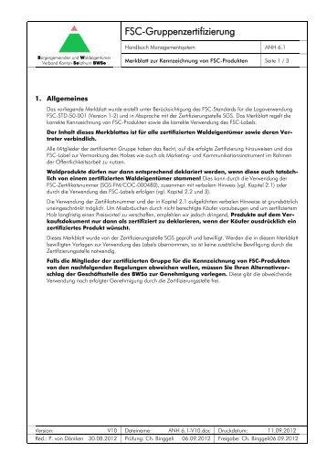 Merkblatt zur Verwendung des FSC-Labels - BWSo