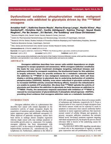 Dysfunctional oxidative phosphorylation makes malignant ...