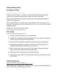 Political Meeting Advice Arranging a meeting Prepare a written ...