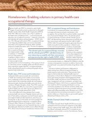 Homelessness - Canadian Association of Occupational Therapists