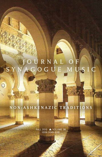 JOURNAL OF SYNAGOGUE MUSIC - The Cantors Assembly