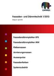Fassaden- und Dämmtechnik Preisliste 1/2013 - Caparol Farben AG