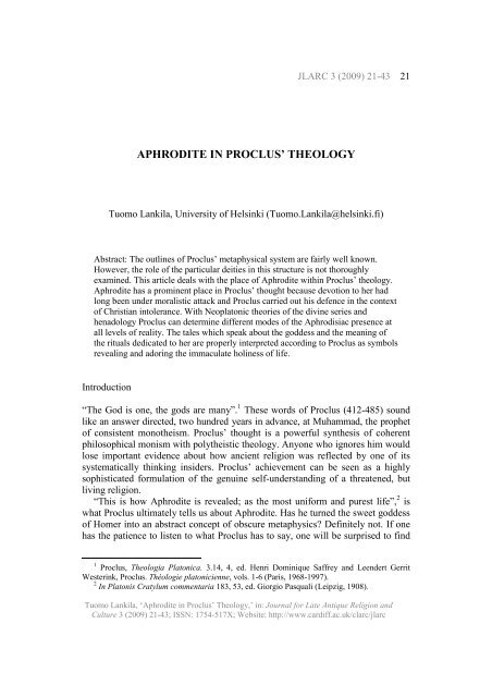 APHRODITE IN PROCLUS' THEOLOGY - Cardiff University