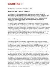 Myanmar: Ein Land im Aufbruch - CARITAS - Schweiz