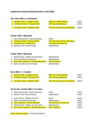 Ergebnisse Deutsche Meisterschaft 13.05.2006 Uhr: Duo LWD 1+2 ...