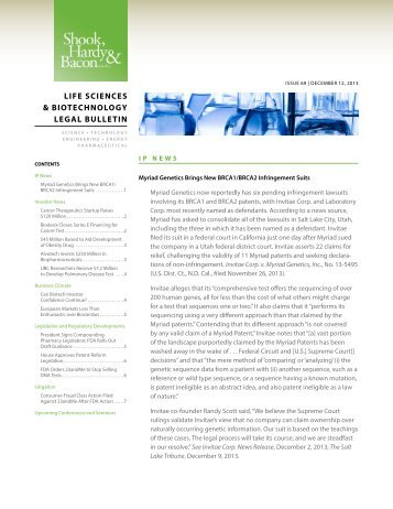 Life Sciences & Biotechnology Legal Bulletin - Shook, Hardy ...