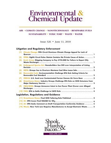 Environmental & Chemical Update - Shook, Hardy & Bacon LLP