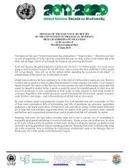 Message of the CBD Executive Secretary, Braulio Ferreira de Souza ...