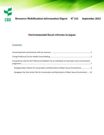 Environmental fiscal reforms in Japan - Convention on Biological ...