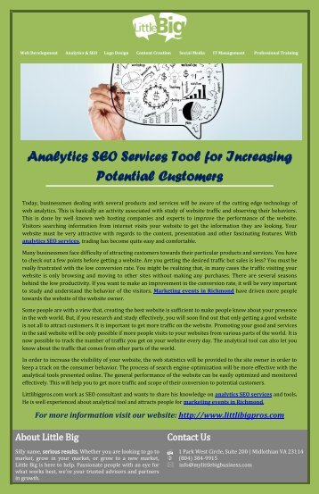 Analytics SEO Services Tool for Increasing Potential Customers