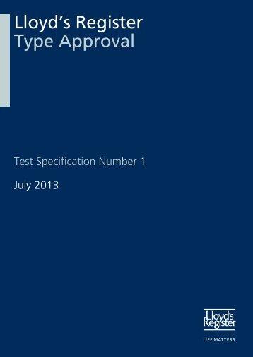 Test Specification Number 1, 2013 - Lloyd's Register
