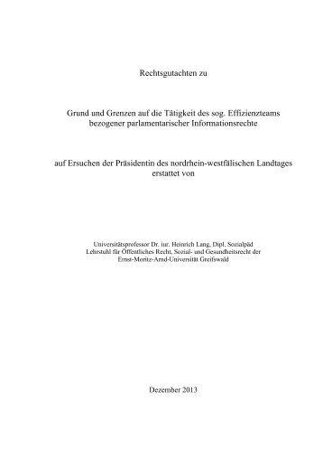 Kurzgutachten zum Effizienzteam - CDU Landtagsfraktion NRW