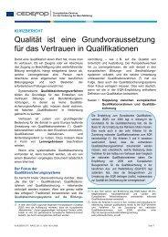 Qualität ist eine Grundvoraussetzung für das ... - Cedefop - Europa