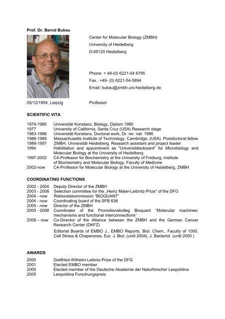 Prof. Dr. Bernd Bukau Center for Molecular Biology ... - CellNetworks