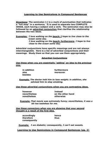 Punctuation Worksheets Mas Colons And Semicolons Answers