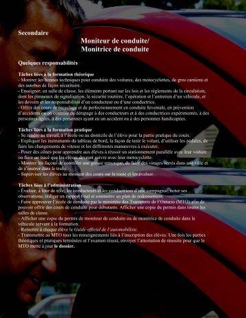 Moniteur de conduite/ Monitrice de conduite - Cforp.ca