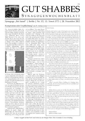 12. Ausgabe - Chabad Lubawitsch - Berlin