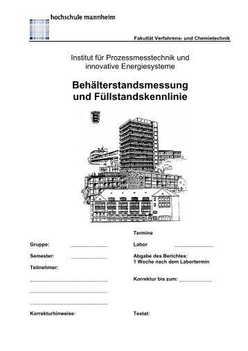 Behälterstandsmessung und Füllstandskennlinie - Fakultät für ...