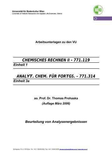chemisches rechnen ii - 771.119 analyt. chem. für fortgs ... - Boku
