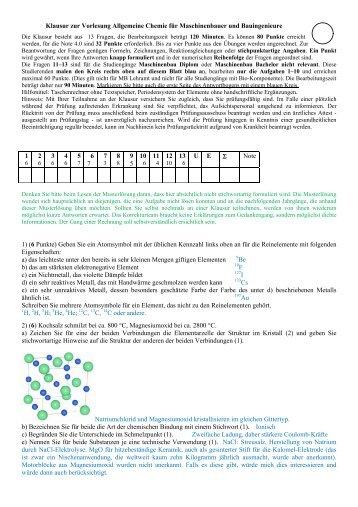 Klausur zur Vorlesung Allgemeine Chemie für Maschinenbauer und ...