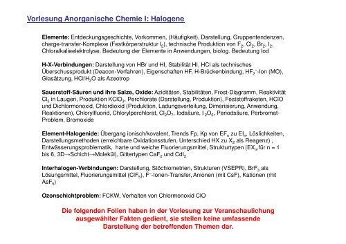 Vorlesung Anorganische Chemie I Halogene