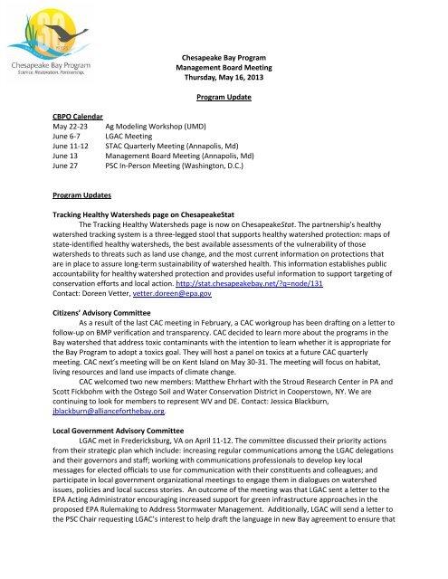 Attachment v - program update 5-16-13 - Chesapeake Bay Program