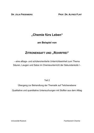 "Zitronensaft und ""Rohrfrei"" - Universität Rostock"