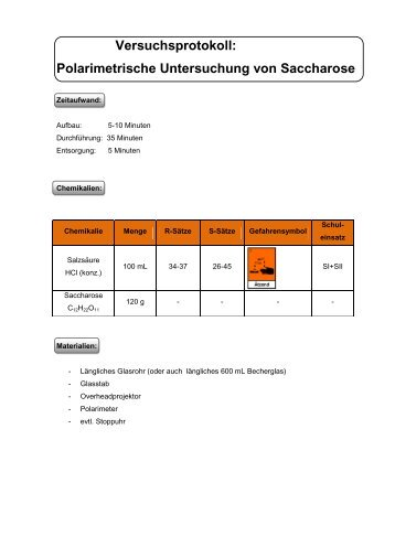 Versuchsprotokoll: Polarimeter- Spaltung von Saccharose - ChidS