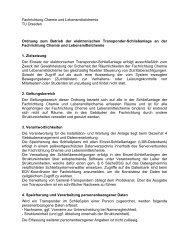 Betriebsordnung Tranponderschließanlage - Fachrichtung Chemie ...