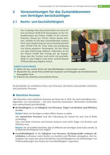 2 Voraussetzungen für das Zustandekommen von Verträgen ...