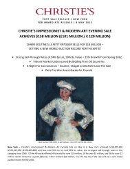 christie's impressionist & modern art evening sale achieves $158 ...