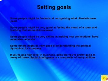 Setting goals - CII