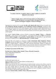 Scarica il comunicato stampa - Cineteca di Bologna